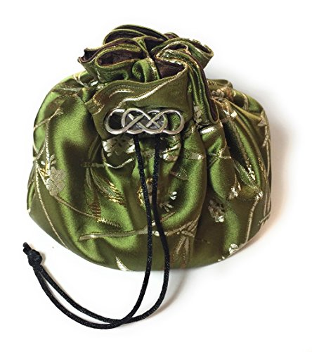 Nature Themed Green and Brown Satin Dice Bag with 8 Organizing Pockets and Decorative Metal (Dice Costumes)