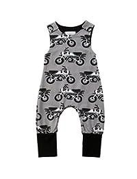 rechange Baby-Boys' Sleeveless Bodysuit Pants Newborn Infant Jumpsuit Playsuit