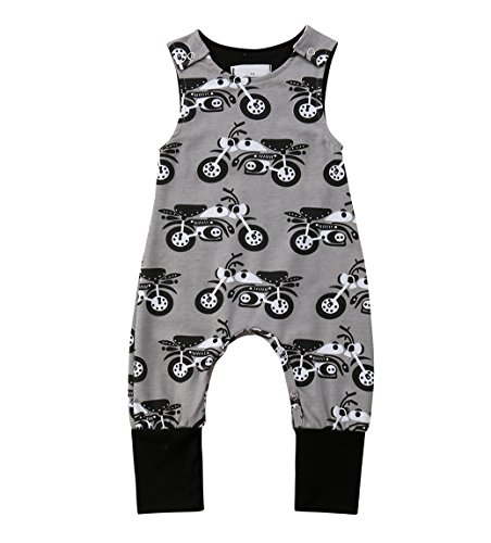 - rechange Baby Boys Motorcycle Excavator Print Romper Sleeveless Bodysuit Pants Newborn Infant Jumpsuit Playsuit (12-18 Months, Gray-Motorcycle)