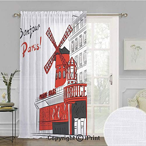 Paris Extra Wide Chiffon Sheer curtain,Sketch Art of Urban Landscape with Cabaret Moulin Rouge in Paris Modern City Decorative,for Large Window/Sliding Glass Door/Patio Door,100x84inch,Orange Grey Whi ()