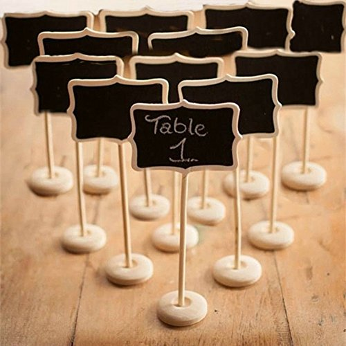 Kubert 12 Piece Mini Rectangle Blackboard Vintage Chalkboard Place Card Holder Stand for Dessert Table WordPad Message Board Holder Clip For Wedding