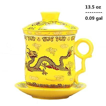4pcs set di drago cinese modello tea-mug con colino infusore e coperchio 4/colori Blue tazza da t/è e piattino in ceramica comodo sistema di porcellana cinese personal Tea Cup 382,7/gram 0.09/GAL