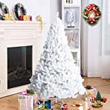 Goplus Artificial Christmas Tree Xmas Pine Tree with Solid Metal Legs Perfect for Indoor and Outdoor Holiday Decoration (5 feet, White)
