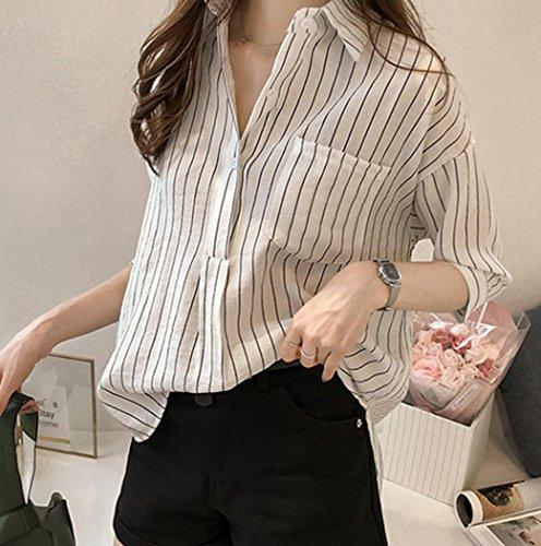 Nouveau La Automne zahuihuiM Manches V Nouveau Cou Printemps Longues Femmes Shirt Bouton Mode Solides Tops Taille Plus Blouses Ray Casual 2018 Blanc T w8A18