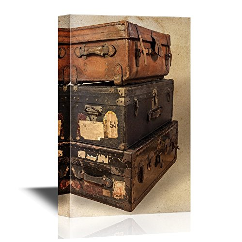 wall26 - Retro Style Canvas Wall Art - Antique Steamer Trunks - Gallery Wrap Modern Home Decor | Ready to Hang - 24x36 inches