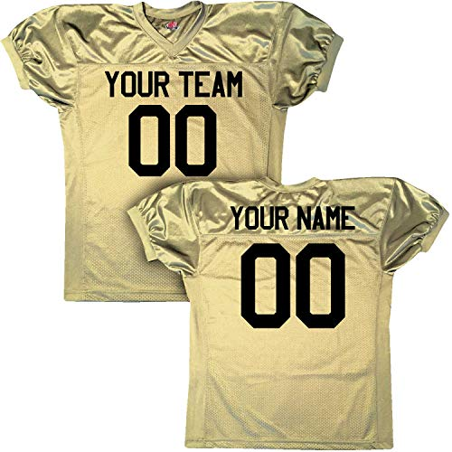 - Pro Custom Football Game Jersey Tricot Mesh Dazzle, Youth Large, Vegas Gold