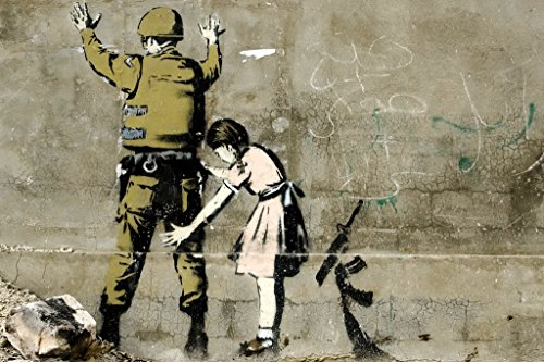 Banksy Girl and a Soldier Graffiti Art Print Poster