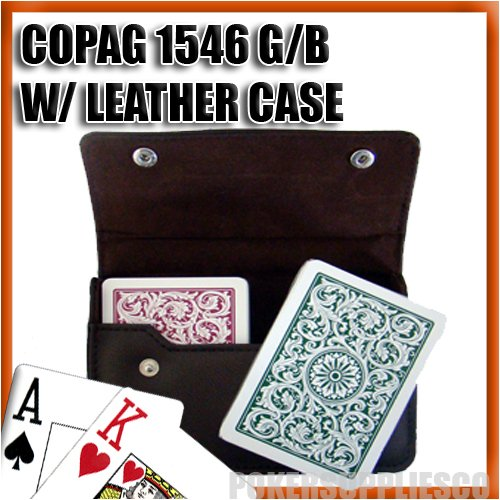Copag Green (Copag Plastic Cards Leather Case Set 1546 Green/Burgundy Bridge Size, Jumbo Index)