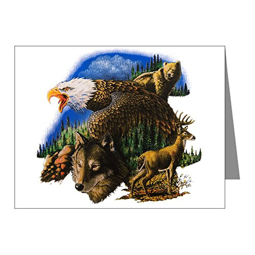 (Note Card Wildlife Collage Eagle Deer Wolf Bear)