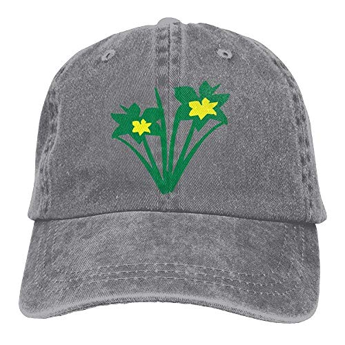 hanbaozhou Gorras béisbol Daffodils with Green Leaf Denim Hat Adjustable Female Flag Baseball Hats