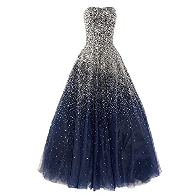 Dressesonline Women's Luxury Prom Dresses Long With Rhinestones Evening Pageant Gowns
