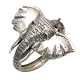 Sterling Silver Large Elephant Head w/Tusks Hinged Bangle