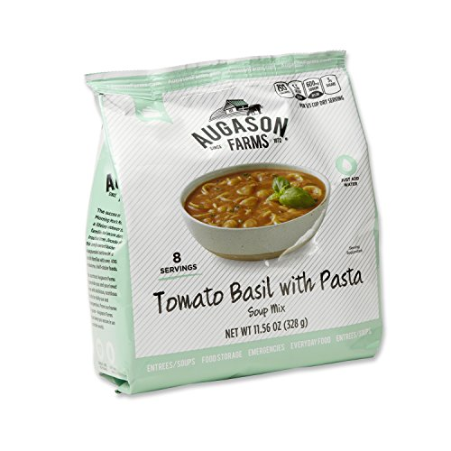 Augason Farms Instant Tomato Basil with Pasta Soup Mix 6-Pack Pantry Pouch