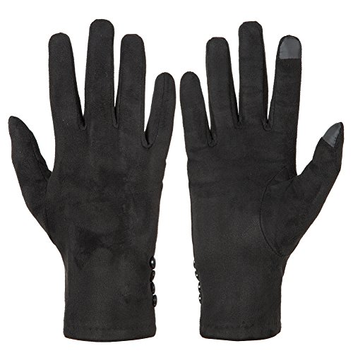 GLOUE Women's Touch Screen Gloves Texting Suede Leather Warm Winter Feast Gloves Driving riding outdoor and indoor fashion gloves (Black) (Select Leather Palm Gloves)