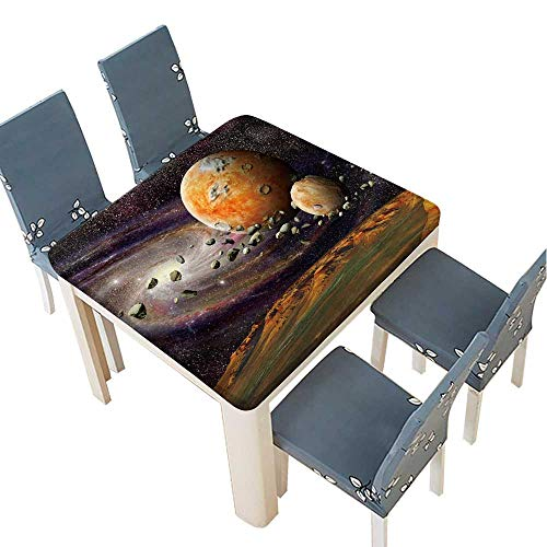 PINAFORE Polyester Tablecloth View of The Mountains Earth from Space Alien Planet and Asteroid Belt Spillproof Tablecloth 53 x 53 INCH (Elastic Edge) ()