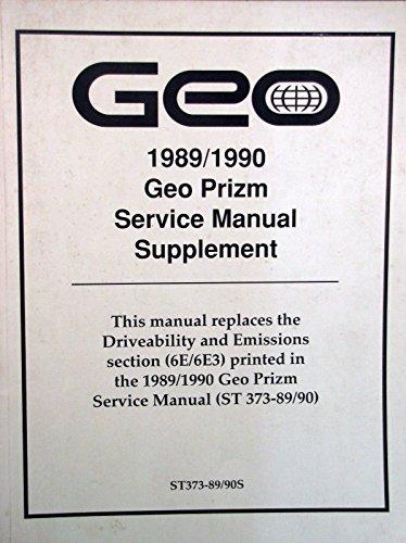 1989-90 Geo PRIZM Service Manual Supplement - 6E/6E3 (Supplement 1989)