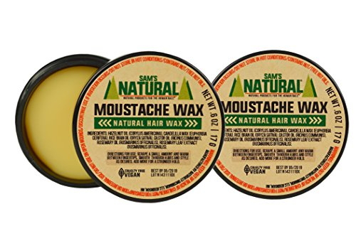 Sam's Natural Moustache Wax - 2 Pack - Moustache/Mustache Wax - Natural - Vegan and Cruelty Free - America's Favorite by Sam's Natural