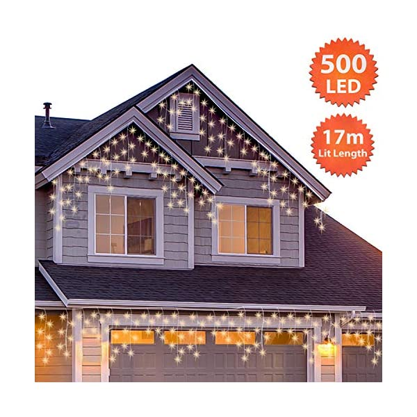 500 LED Tenda luminosa, Luci natalizie per interni e esterni,bianco Caldo con 8 modalità luce/timer, Memoria, trasformatore incluso, 17 M lunghezza- Cavo transparente 2 spesavip