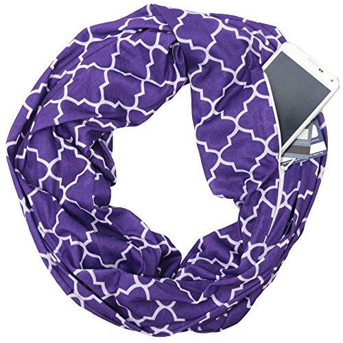 Business Scarf Ladies - Womens Purple Patterned Ladies Infinity Scarf Zipper Pocket & Pattern Print, Women Scarves, Winter
