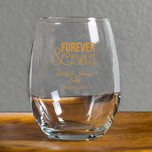 Forever and Always 9 Oz Toasting Glasses, Case of 72 Custom Printed Stemless Wine Glasses (Gold Ink), Engagement Party Favor Bridal Shower