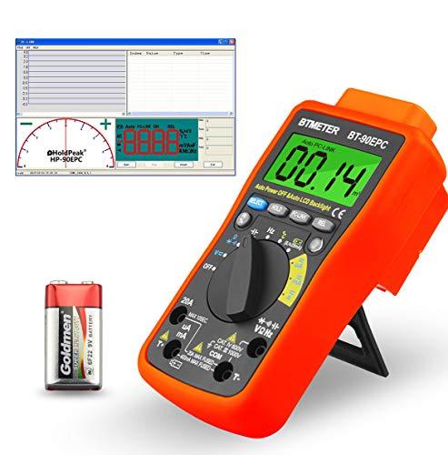(High Voltage Digital Multimeter Autoranging - BTMETER BT-90EPC 4000 Counts AC/DC Voltage Meter Tester for Current, Volt to 1000V, Resistance, Capacitance, Temp, Battery Measure with Auto Backlight)