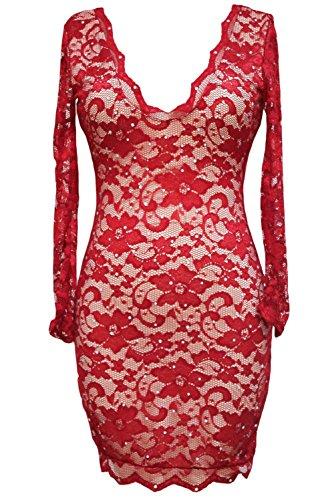 Pinkyee - Vestido - para mujer Rosso