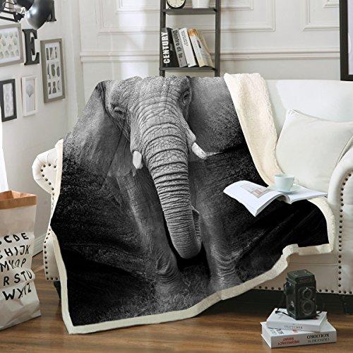 Sleepwish Elephant Blanket Super Soft Cozy Sherpa Fleece Throw Blanket Black White 3D African Elephant Walking Blanket for Men Boys (Throw 50