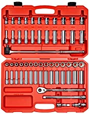 TEKTON 3/8 Inch Drive 6-Point Socket & Ratchet Set