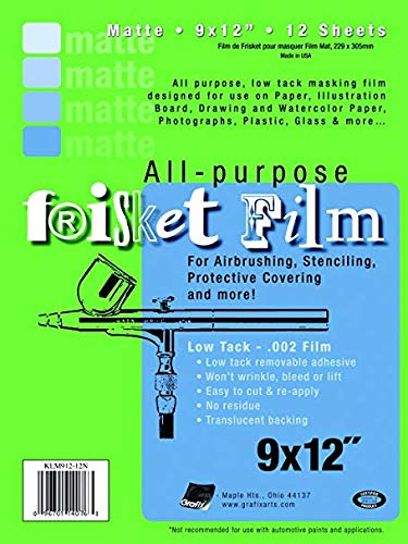 Grafix Multi-Purpose Low Tacking Frisket Film, 9 X 12 in, 0.002 in Thickness, 12 Sheets, Matte, Pack of ()