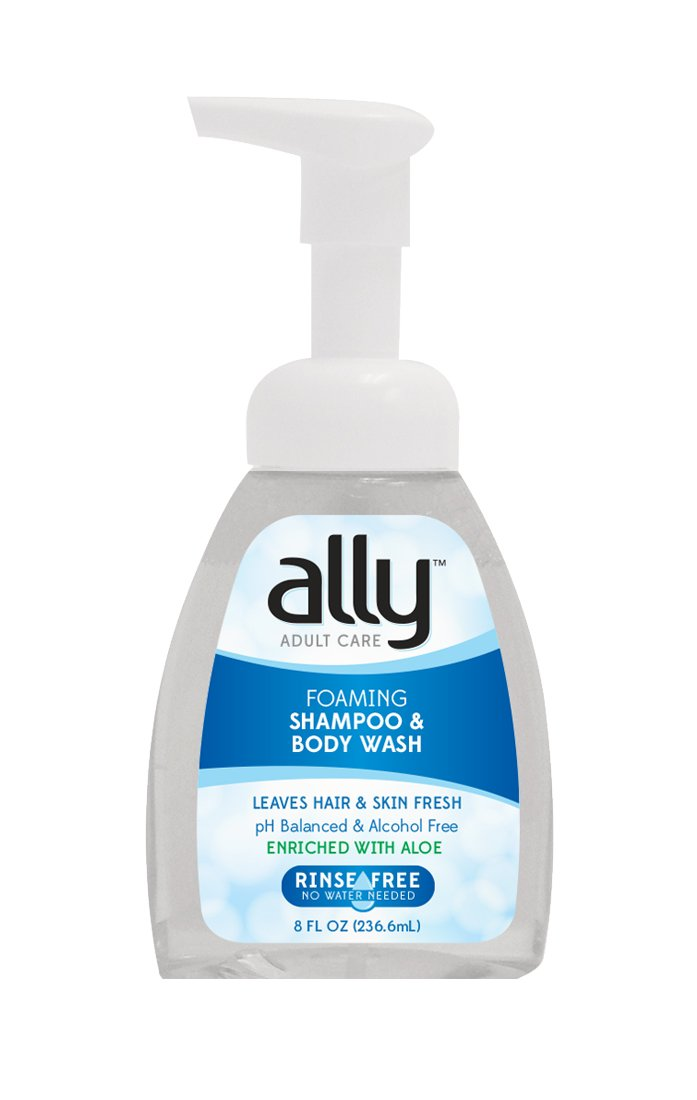 Ally Rinse Free Shampoo and Body Wash with Aloe, 8 Fluid Ounces (Pack of 12)