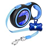 EAST-BIRD Retractable Dog Leash, 16 FT Durable Walking Leash, Best for Small Medium Dogs Up to 50 LBS, Lightweight and Tangle Free One Button Break & Lock, Free Waste Dispenser (16ft, Blue)