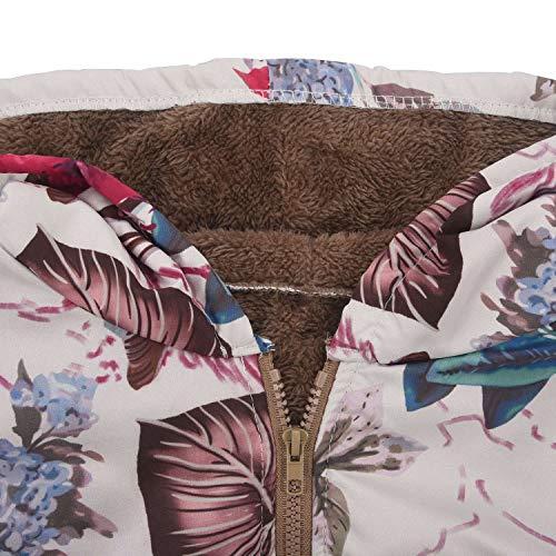 Manteau Toogoo Floral S Bleu Sweat Vêtements Vintage Foncé Glissière Femmes Chaud Polaire À Capuche Veste D'extérieur Rouge Rose Dames Imprimé Décontracté Fermeture Hiver PqtUPxwRr