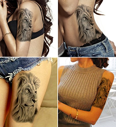 DaLin Large Temporary Tattoos, 4 Sheets (Contemplative Lion)
