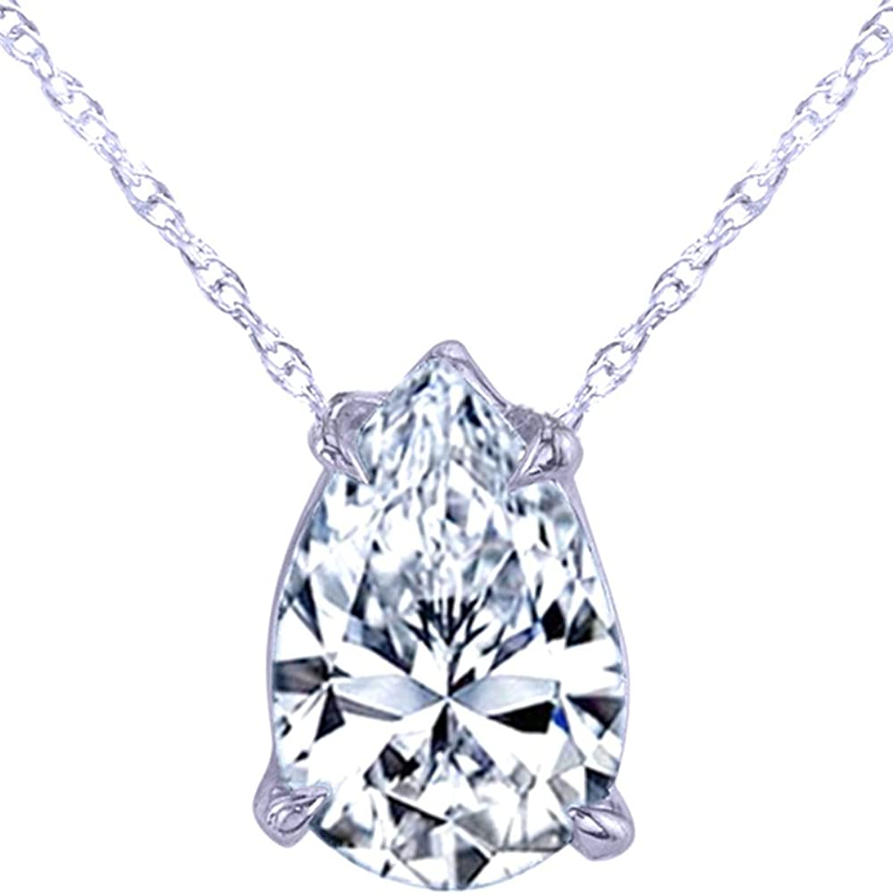 Wishrocks 18k Gold Over Sterling Silver Pear Cut CZ 4 Prong Set Solitaire Pendant Necklace