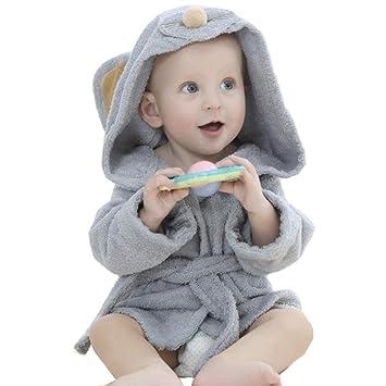 Albornoz de baño niños niñas chicos toalla de baño bebé toalla de baño con capucha Poncho vestido en algodón, Wearable dulce secado Mignon Animal salida de ...