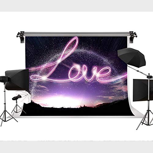 STS 9x6FT Photography Backdrop Valentine's Day Romantic Background Fantasy Purple Sunrise Photo Background Lover Letter Backdrop Mountain for YouTube Studio Backdrop LHST149