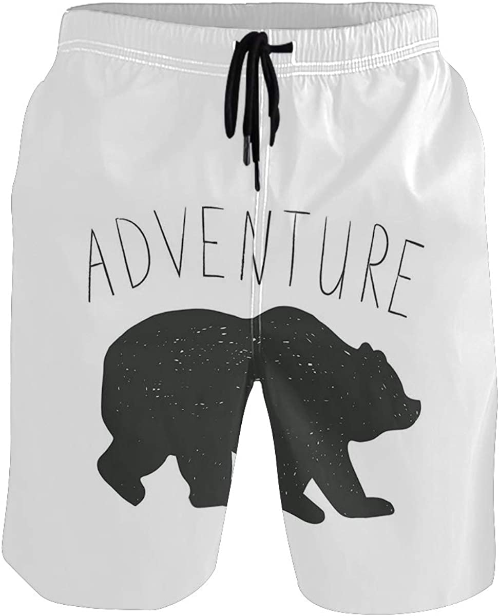 COVASA Mens Summer ShortsBlack Silhouette of Wild Bear Zoo Animal Nature Passi