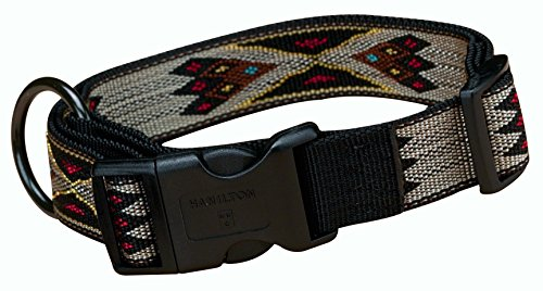 Dog Nylon Hamilton Adjustable Collar - Hamilton Southwest Pattern Adjustable Dog Collar, Large, 1-Inch, Tan