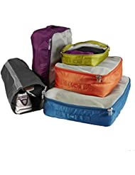 Lug Cargo 5-Piece Packing Kit, Ocean Blue/Plum Purple/Sunset Orange/Grass Green/Grey, One Size