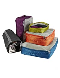 Lug Cargo 5-Piece Packing Kit, Ocean Blue/Plum Purple/Sunset Orange/Grass Green/Marigold Yellow, One Size