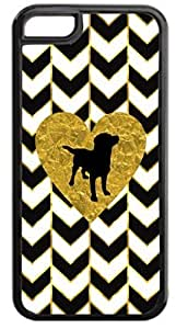 Black and White Gold PRINT Gilded Chevrons-Gold Foil PRINT Heart-Puppy Silhouette- Case for the APPLE iphone 4s ONLY-NOT FOR THE iphone 4s !!!-Hard Black Plastic Outer Case