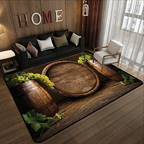 (Super Cozy Bathroom Rug Carpet,Winery Decor Collection,Still Life of Wine with Wooden Keg Ancient Old Fashioned Wine Keeper Tasting Scene,Green Sienna 71