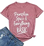 Pumpkin Spice Everything Basic Letter Print Women's Halloween T Shirt Casual Tops Tees Size Large (Pink)