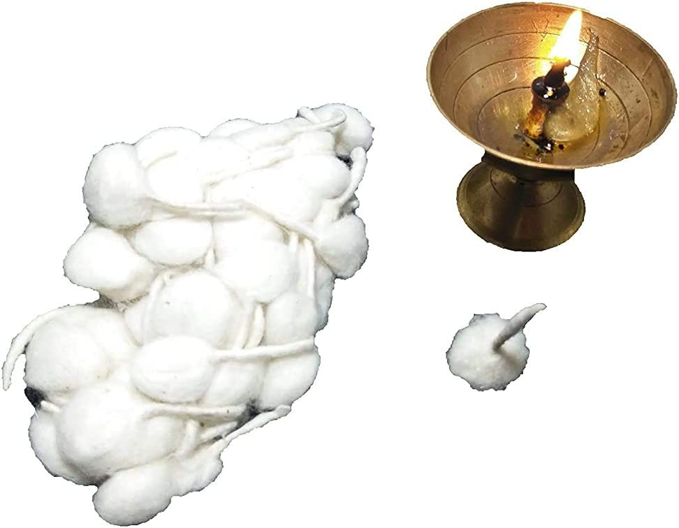 White Khandekar Handicrafts Cotton Wool Oil Lamp Wicks Pack of 100 Round Diya Batti Oil Lamps Lanterns Candles Pure Organic Batti Puja Wicks Religous Jyot Bati