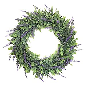 Trycooling Plastic Artificial Lavender Wreath Front Door/Wall Hanging Round Wreaths Flowers for Home Office Decor 32