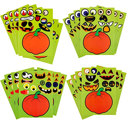 Halloween Pumpkin Face Designs (SAVITA 24 Sheets Halloween Stickers Jack O'Lantern Pumpkin Stickers Halloween Face Stickers for Kids with Funny Face Design for Halloween Party)