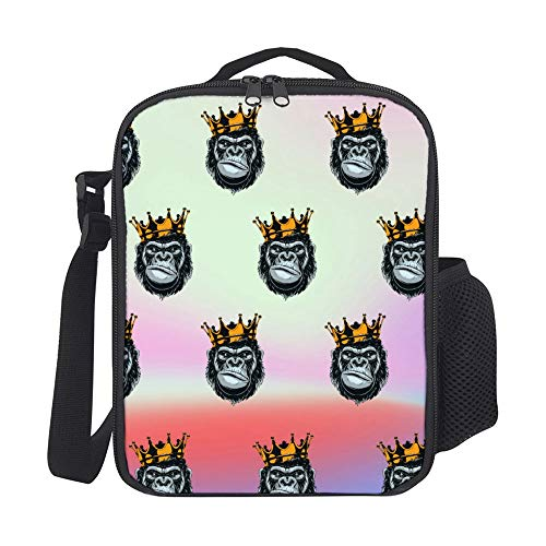 SARA NELL Kids Lunch Backpack Ferocious Gorilla Head King Animal Lunch Box Lunch Bag Large Lunch Boxes Cooler Meal Prep Lunch Tote With Shoulder Strap For Boys Girls