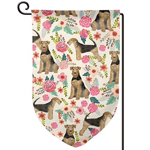 Room101 Garden Flag Summer,Airedale Terrier Dog Fabric Cute Dogs Spring Florals Fabric,12.5 x 18 Inch