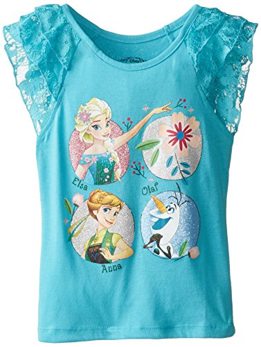 Disney Little Girls' Toddler Frozen Fever Lace Sleeve T-Shirt, Turquoise, 2T