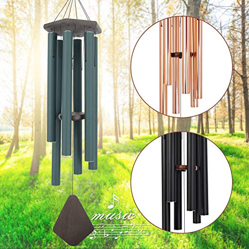 Wind Chimes Outdoor Large Deep Tone, 44 Inch Sympathy Wind Chime Amazing Grace Outdoor, Memorial Wind-Chime with 6 Tuned Tubes, Elegant Chime for Garden, Patio, Balcony and Home Decor, Matte Green